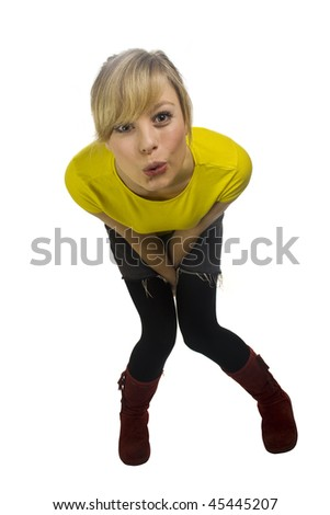 Funny Young Blonde Woman - stock photo
