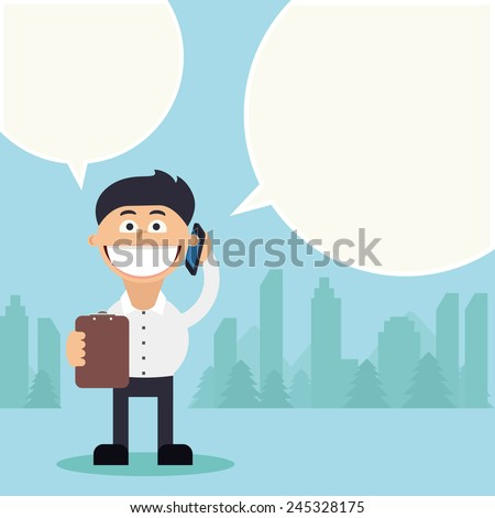 Funny young business man talking on mobile with bubble speech and holding tablet in front of him. City on background. - stock photo