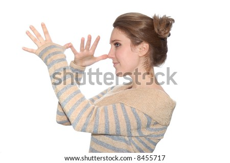 Funny young girl isolated over a white background - stock photo