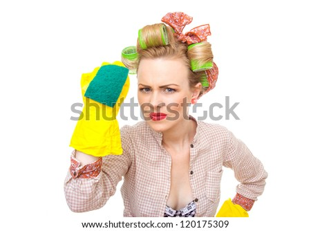 Funny young housewife with gloves holding scrubberr, isolated on white. Pin-up girl - stock photo