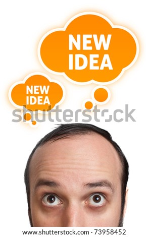 Funny Young man having an idea, isolated on white background - stock photo