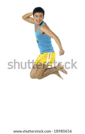Funny young man in the air - stock photo