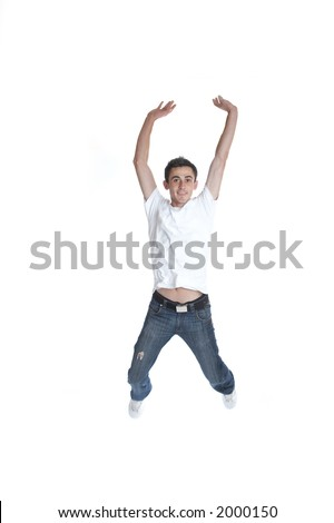 Funny young man in the air / little blur on feet / shutter 1/200s - stock photo