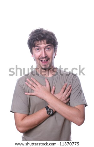 Funny young man over white background - stock photo