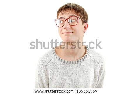 Funny Young Man Portrait in Glasses. Isolated on the White Background