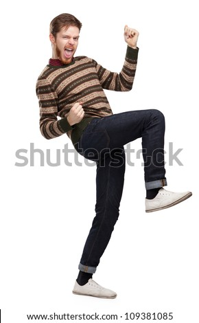 Funny young man silhouette, full-length portrait, isolated - stock photo