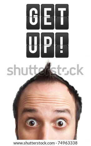 Funny Young man with get up sign over head, isolated on white background - stock photo