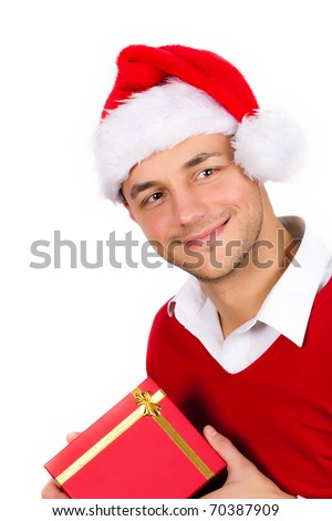 funny young men in red christmas clothes and gift box smiling - stock photo