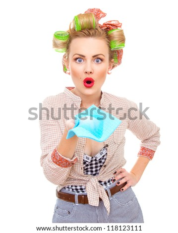 Funny young surprised housewife holding rag / wipe with foam / soap isolated on white. Pin-up girl - stock photo