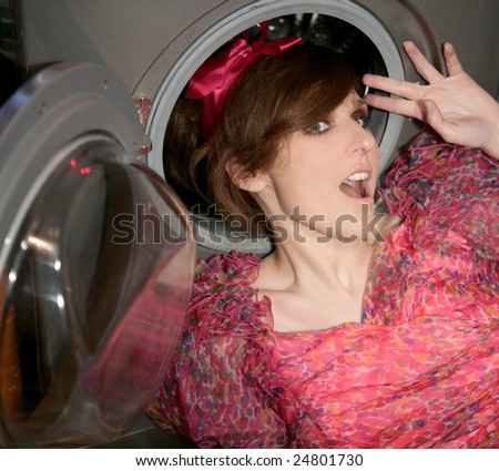 funny young woman housewife, kitchen fashion metaphor - stock photo