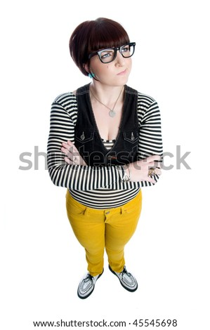 funny young woman with glasses