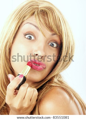 Funny young woman with lipstick.
