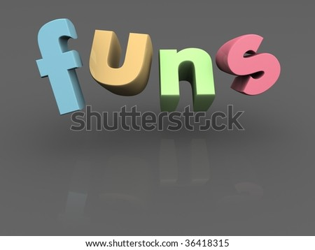 Funs word with pastel color in gray background 3d illustration