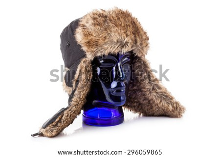 Fur cap for winter weather.  winter Hat isolated on white - stock photo
