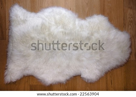 Fur carpet on oak wooden floor - stock photo