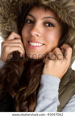 Fur Coat Girl Smiling - stock photo