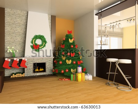 Fur-tree and fireplace in a drawing room - stock photo
