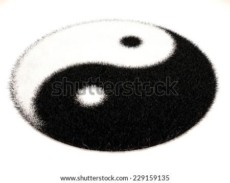 Fur yin yang - stock photo