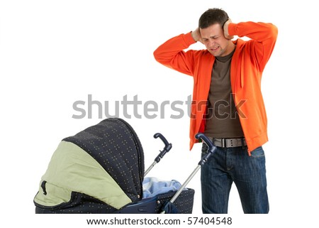 furious, angry father with raised hands and baby  buggy - stock photo