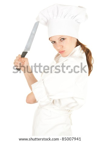 furious attractive cook woman with knife, white background