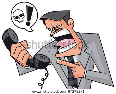 Furious businessman screaming to the phone - stock photo
