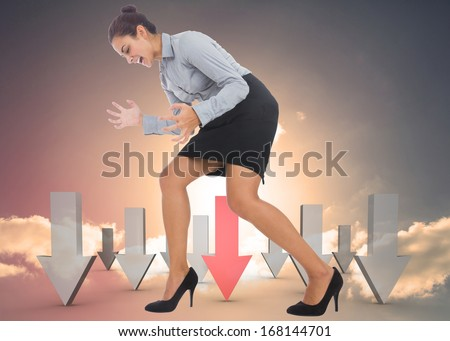 Furious businesswoman gesturing against red and grey arrows pointing against sky - stock photo