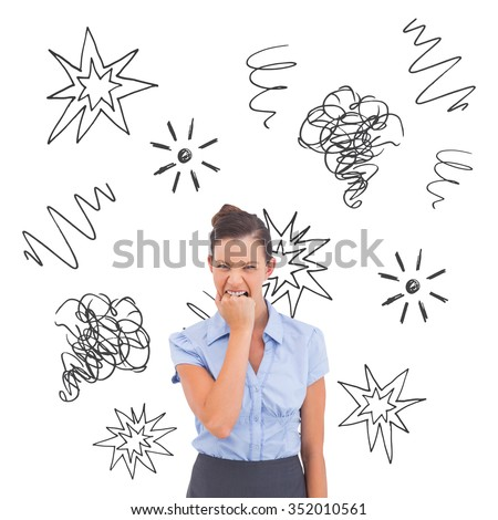 Furious businesswoman looking at the camera against swearing doodles - stock photo