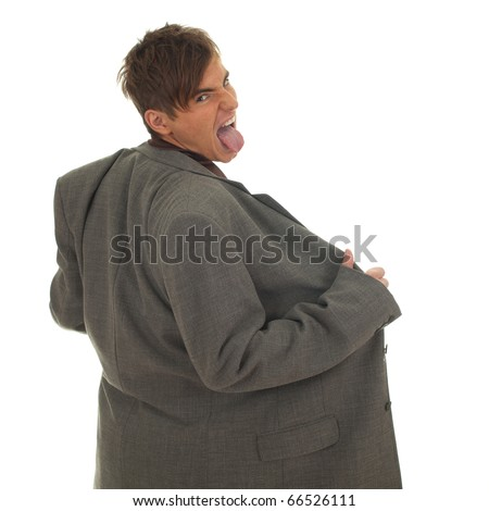 furious homeless businessman in grey, oversized suit on white background - stock photo
