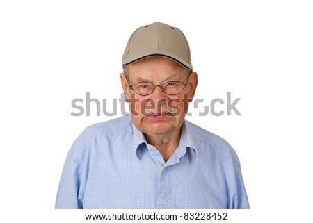 Furious  Male senior isolated on white background. - stock photo