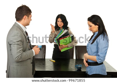Furious manager woman argue employees for taking coffee break to long and send them to work - stock photo