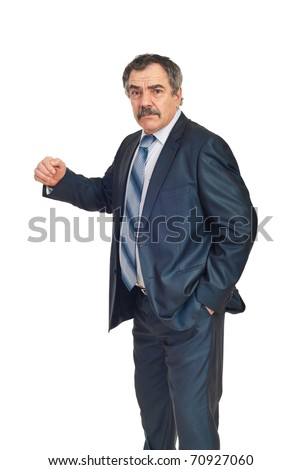 Furious mature manager showing his fist isolated on white background - stock photo