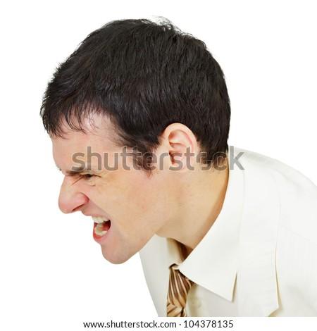 Furious men shouting isolated on white background - stock photo