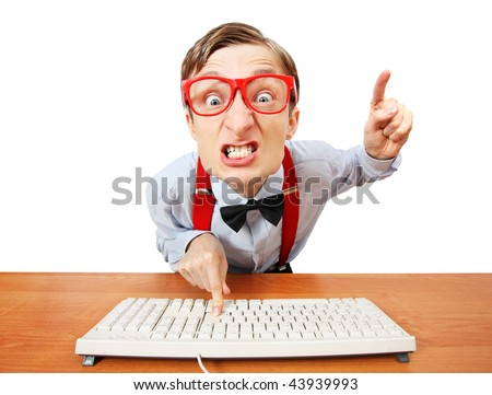 Furious office worker - stock photo