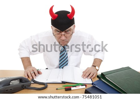furious official near desk in office on white background - stock photo