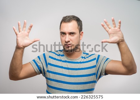 Furious young man - stock photo
