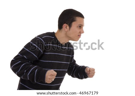 Furious young man isolated on a white background