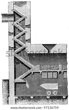 """furnace by Gazenklever - an illustration to article """"Metallurgy"""" of the encyclopedia publishers Education, St. Petersburg, Russian Empire, 1896 - stock photo"""