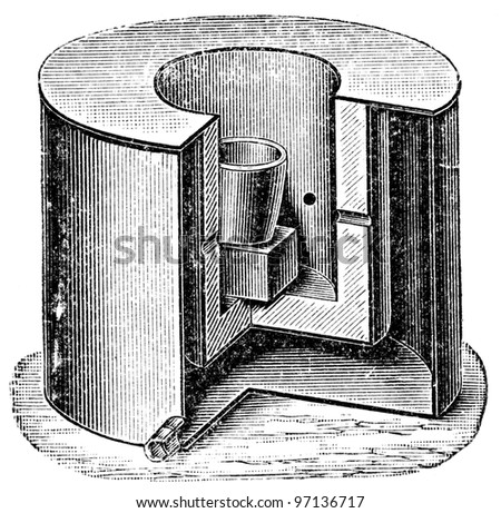"""furnace by Sefstrom - an illustration to article """"Metallurgy"""" of the encyclopedia publishers Education, St. Petersburg, Russian Empire, 1896 - stock photo"""