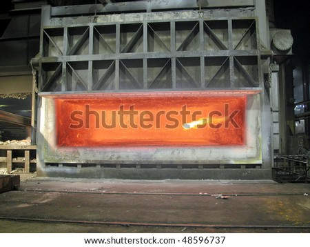 furnace smelting metal - stock photo