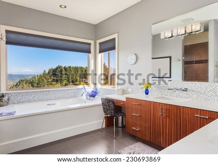 Furnished bathroom in luxury home - stock photo