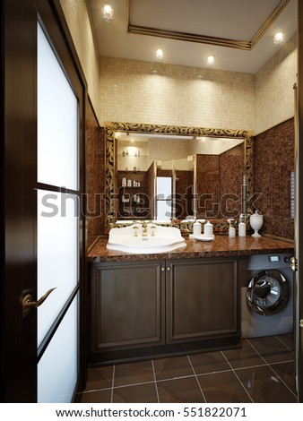 Furnished bathroom in luxury home with marble tile floor, beige brown marble tile, fancy brown cabinets, large gold mirror and shower. 3d rendering
