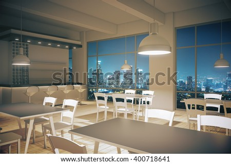 Furnished cafe interior with light wooden floor and night city view. 3D Rendering
