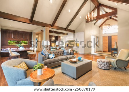 Furnished living Room in Luxury Home - stock photo