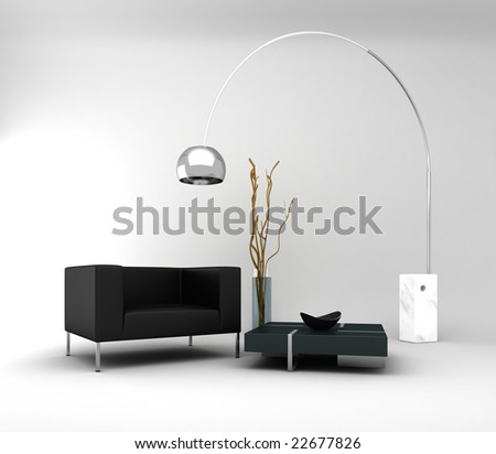 Furniture: a minimal and modern interior - stock photo