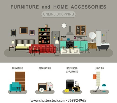 Furniture and home accessories banner with flat icons sofa, bookshelf, bed, bathroom, kitchen, etc. Set icons of furniture, lighting, decoration and household appliances. Raster version. - stock photo