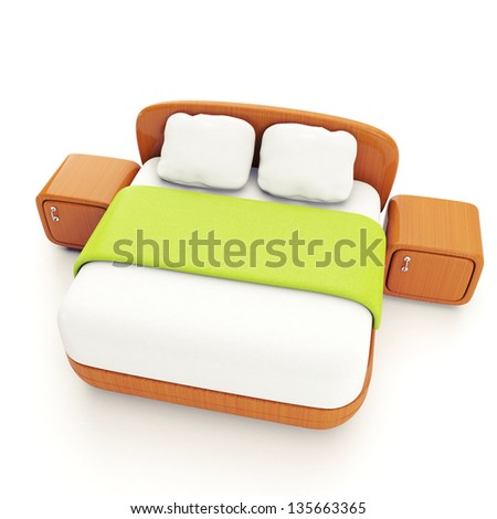 Furniture and home furnishings. 3d illustration of a double bed on a white background - stock photo