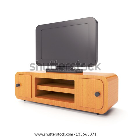 Furniture and home furnishings. 3d illustration of a TV stand on a white background - stock photo