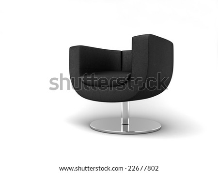 Furniture: armchair in black lather - stock photo