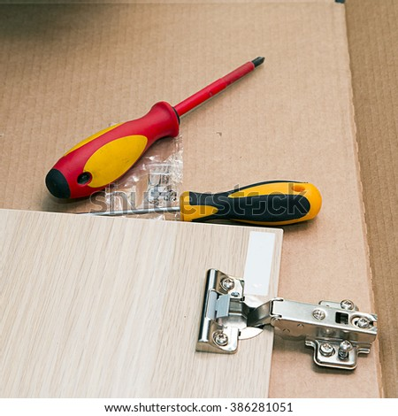 Furniture assembly. Furniture fittings - stock photo