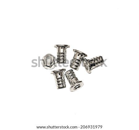 Furniture fittings - screws on white background - stock photo